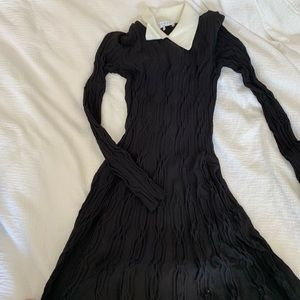 Sandro Black and White Cable Knit Dress